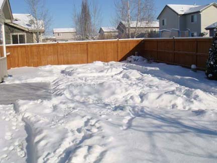 Peyton's Backyard Snow Path